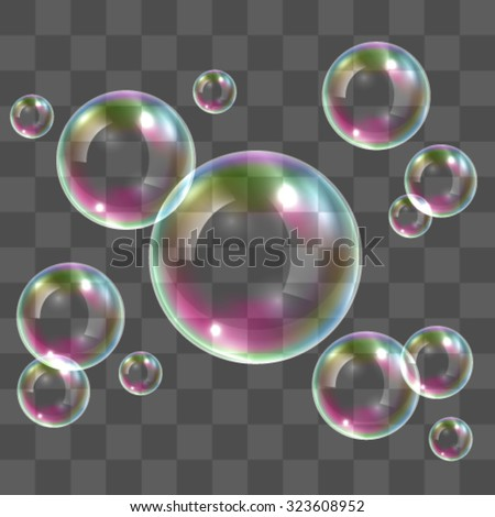 Realistic transparent soap bubbles with rainbow reflection - stock vector