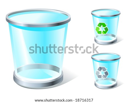 realistic trash icon with and without recycle sign, see also Images ID: 18871447, 18875551 - stock vector