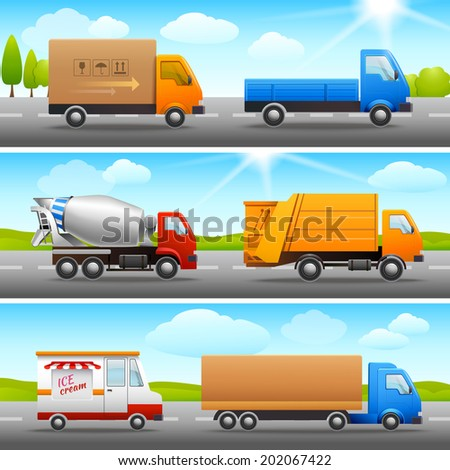 Realistic truck lorry transport van auto set on road outdoor background vector illustration. - stock vector