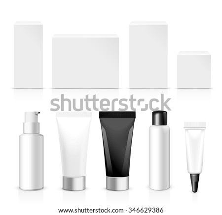 Realistic Tubes And Package. Packing White Cosmetics Or Medicines Isolated On White Background. You Can Use It For Tube Of Creams, Shampoo, Gel, Sauce, Ointments Or Any Other Product for you design - stock vector