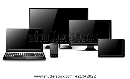 Realistic tv, laptop, tablet computer, monitor and smart phone