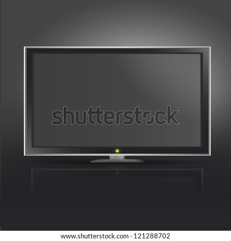 Realistic TV on black background. Vector design. - stock vector
