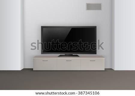 Realistic TV on nightstand interior vector illustration. Led TV. Vector interior design. Interior wall. Living room interior. Modern interior. EPS 10.  - stock vector