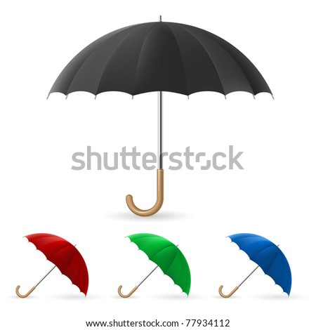 Realistic umbrella in four colors. Illustration on white background - stock vector
