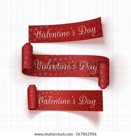 Realistic Valentines Day vector red Ribbons Set - stock vector