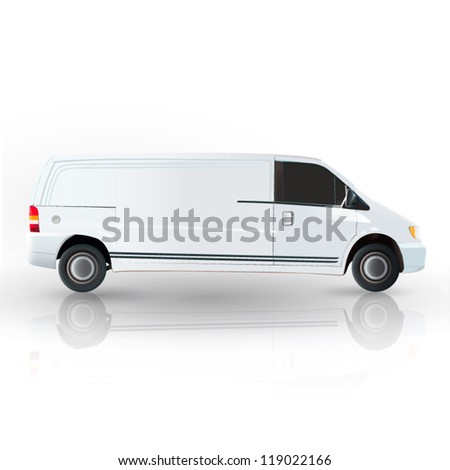 Realistic van isolated on white. Vector design. - stock vector