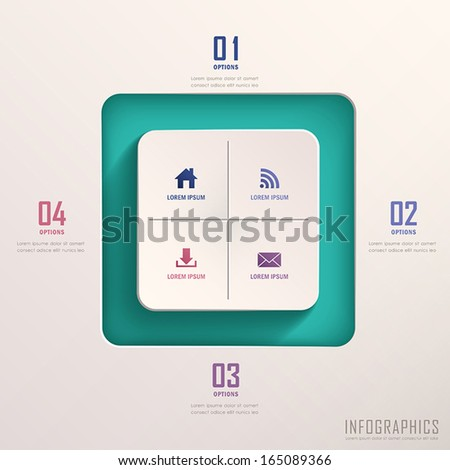 realistic vector abstract 3d square infographic elements - stock vector