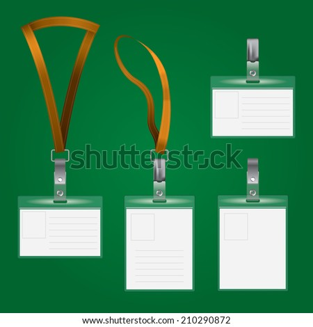 Realistic vector badge, card name or id holder. Isolated on green. EPS 10 format.