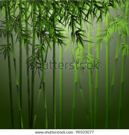 Realistic vector bamboo.Background in asian style - stock vector