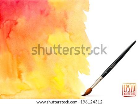 Realistic vector brush on orange watercolor background - stock vector