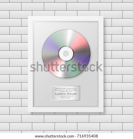 Realistic Vector Cd And Label In Glossy White Frame Icon Closeup On Brick Wall Background