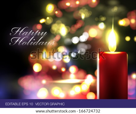 Realistic vector Christmas theme with candle and Christmas lights in background