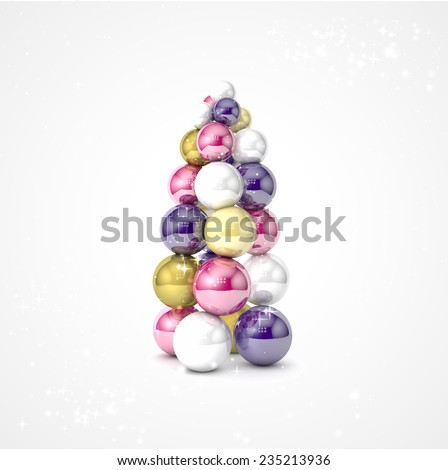 Realistic vector christmas tree made from colored and bright balls. Happy New Year and Merry Christmas. Vector realistic 3d shiny white, purple, gold, pink Christmas balls for the Christmas tree. - stock vector