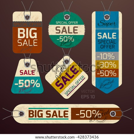 Realistic vector. Collection of tags, special offer, sale. Design in vintage style. Brown background - stock vector