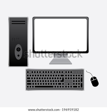 Realistic vector computer with wireless keyboard and mouse