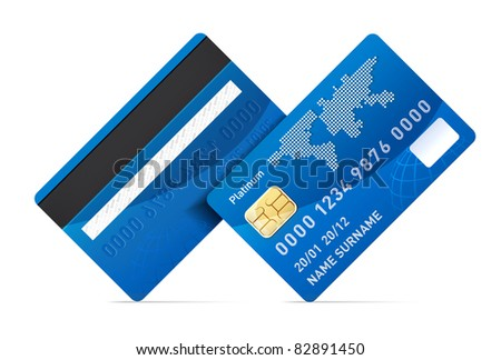 Realistic vector credit card isolated on white background. Rotating 45 degree - stock vector