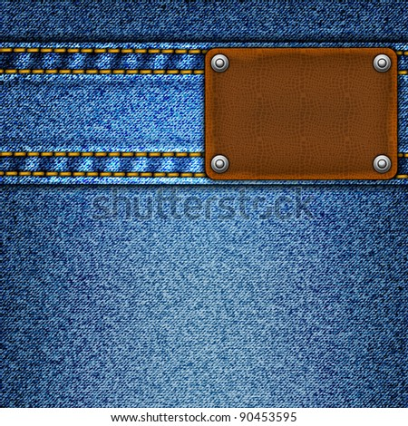 Realistic vector denim background. - stock vector
