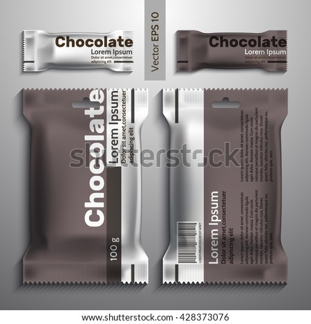 Realistic vector design chocolate packaging, packaging template. Candy and a large pack of sweets.Brown packing - stock vector
