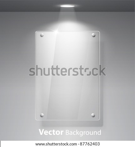 Realistic vector empty glass frame on a wall with lights for images and advertisement. Fully editable eps10 - stock vector