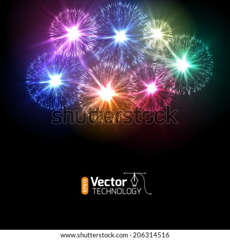 Realistic Vector fireworks exploding in the night sky - stock vector