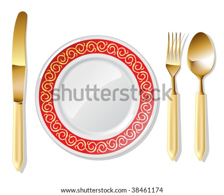 Realistic vector golden spoon, fork and table knife with plates. - stock vector