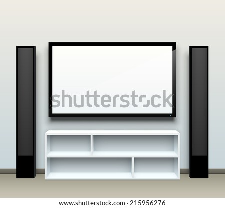 Realistic vector home cinema illustration with a blank TV screen and tall speakers on the sides. EPS10 vector image. - stock vector