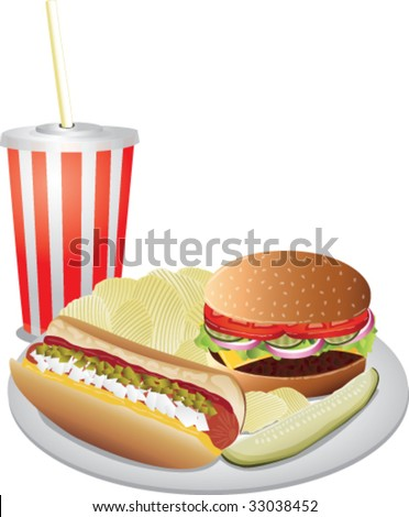 Realistic vector hotdog, cheeseburger, chips, pickle and drink. - stock vector