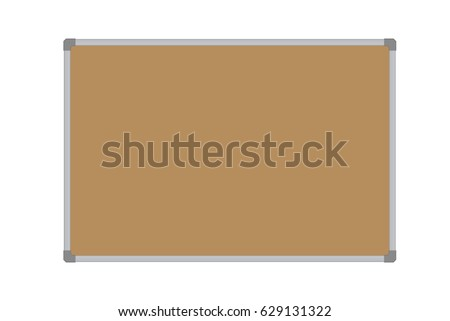 Realistic vector illustration of a blank cork whiteboard with aluminum frame, isolated on a white background