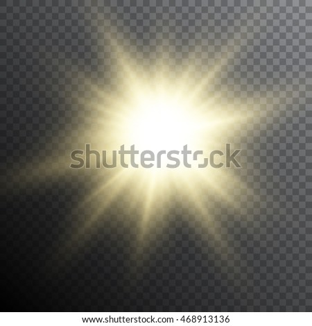Realistic vector illustration of a bright flash of light, sun or another strong light source