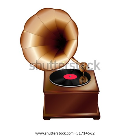 Realistic  vector illustration of a vintage gramophone