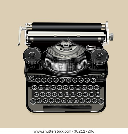 Realistic vector illustration of a vintage typewriter in retro colors - stock vector