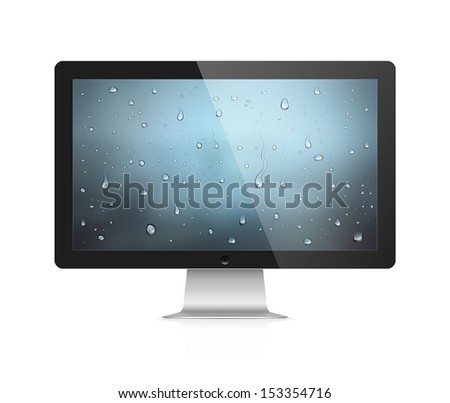 Realistic vector illustration of computer monitor with water drops wallpaper on screen isolated on white background - stock vector