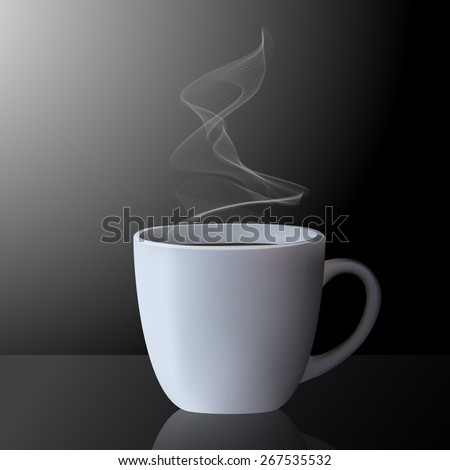 Realistic vector illustration of cup of hot tea or coffee on black background. - stock vector