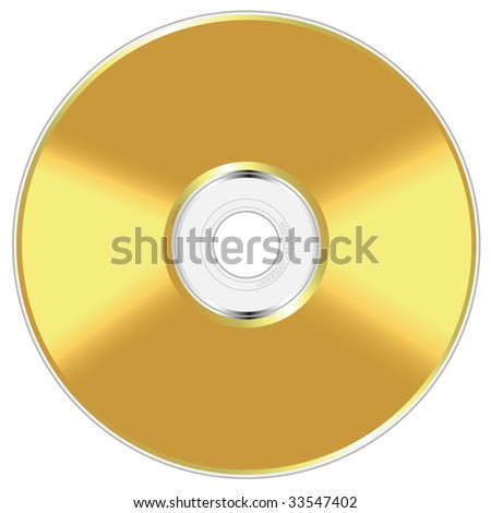 Realistic vector illustration of golden compact disc isolated on white background. - stock vector