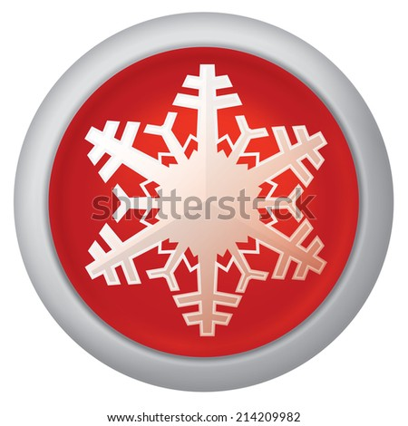 Realistic vector illustration of red snowflake button icon - stock vector