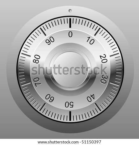 Realistic vector illustration of safe combination lock wheel. - stock vector