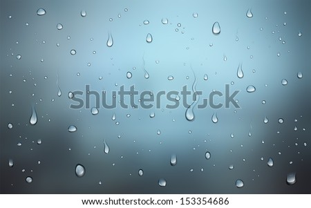 Realistic vector illustration of water drops on window - stock vector