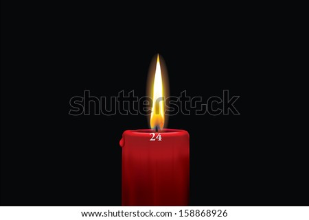 Realistic vector illustraton of a lit red christmas advent candle with the 24th of december showing. Decorative and beautiful art where you can feel the heat of the glowing flame.