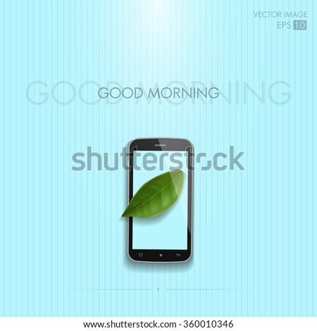 realistic vector image. mobile phone with leaf on the screen on a blue background. ecology