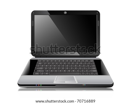 Realistic vector laptop - stock vector
