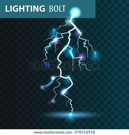 Realistic Vector Lighting Bolt With Blue Light Effects