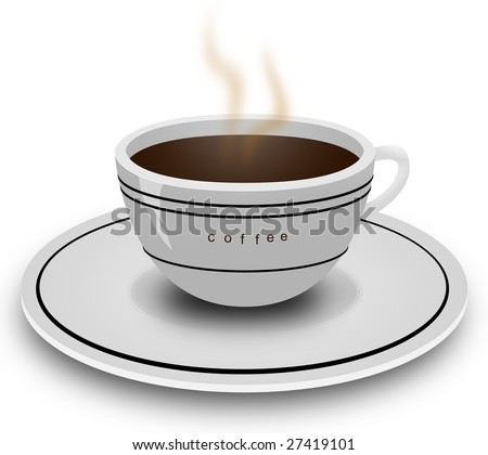 realistic vector of a coffee cup and plate. - stock vector