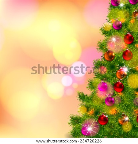 Realistic Vector of Christmas-tree decorations with bokeh background - stock vector