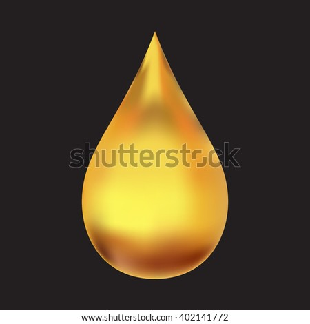 Realistic vector oil drop isolated on black background. Big yellow drop. Oil drop vector. Huge oil drop. Oil drop on black. Shining oil drop. Oil drop isolated. Oil drop symbol. - stock vector
