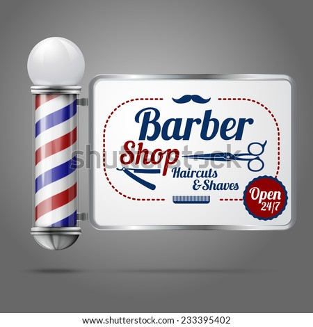 old fashioned vintage silver and glass barber shop pole with Barber ...