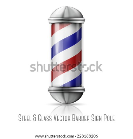 Realistic vector - old fashioned vintage silver and glass barber shop pole with red, blue and white stripes. Isolated on white background with reflection, for design and branding. Vector