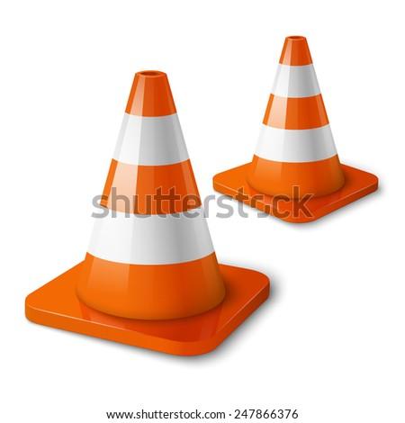Realistic vector - orange road cones with stripes. - stock vector