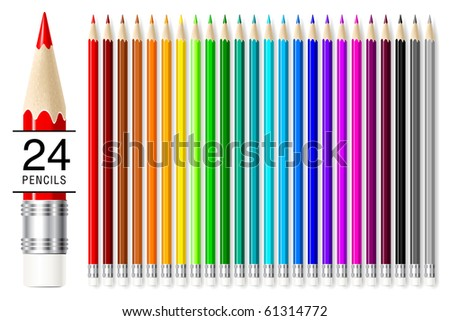 Realistic vector pencils set isolated on white background. - stock vector