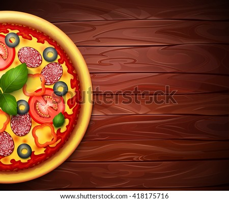 Realistic vector Pizza recipe or menu wood background. Pizza with tomatoes and pepperoni on wooden table - stock vector