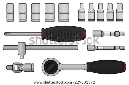 Realistic vector ratchet and socket icon set. Mechanic service kit. Color clip art isolated on white - stock vector